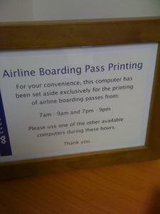 pc dedicated to printing boarding passes