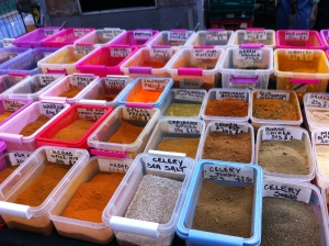 an array of spices for sale