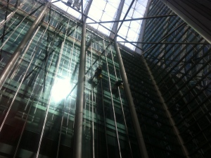 window cleaners in a glass buidling