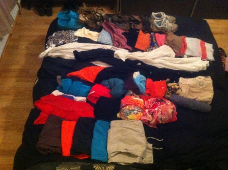 Clothes ready for packing