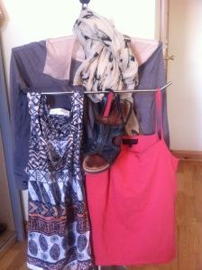 Flat black sandals, tribal print tank, watermelon vest, truffle/ apricot cardi, scarf in apricot with blue/ brown/ cream pattern.