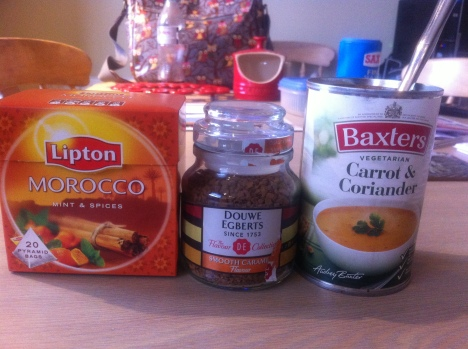 moroccan tea, flavoured coffe, a tin of soup