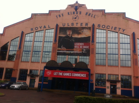 the front of Kings Hall Belfast with welcome poster
