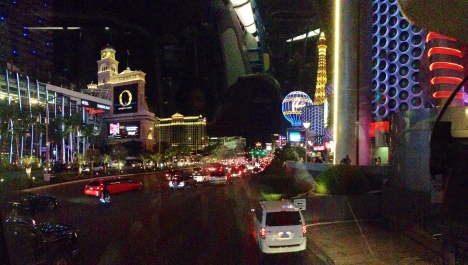 Looking north on Las Vegas strip at night