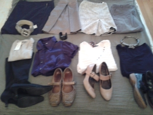 4 each of tops, bottoms, shoes and accesory