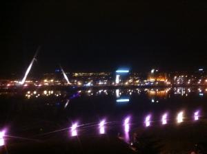 The Peace Bridge during the Lumiere festival