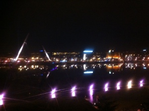The Peace Bridge during the Lumiere festival